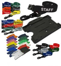 PRE PRINTED LANYARD AND RIGID OPEN FACED HOLDER